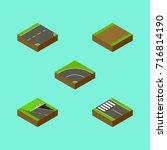isometric road set of bitumen ...   Shutterstock .eps vector #716814190