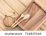kitchenware set of wooden on... | Shutterstock . vector #716819164