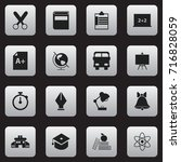 set of 16 editable school icons.... | Shutterstock .eps vector #716828059
