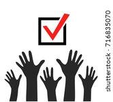 raised hands icon  vector poster | Shutterstock .eps vector #716835070