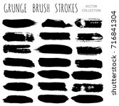 set of black brush strokes  ink ... | Shutterstock .eps vector #716841304