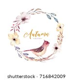 watercolor floral boho flower... | Shutterstock . vector #716842009