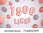 1500 likes, 1500 followers thank you with Rose Gold balloons and colorful confetti. For Social Network friends, followers, Web user Thank you celebrate of subscribers or followers, likes.