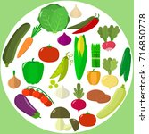 vector vegetables icons set in... | Shutterstock .eps vector #716850778