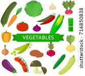 vector vegetables icons set in... | Shutterstock .eps vector #716850838