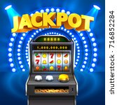 golden slot machine wins the... | Shutterstock .eps vector #716852284