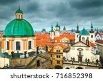 amazing old town panorama with... | Shutterstock . vector #716852398
