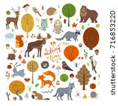 vector set of autumn forest... | Shutterstock .eps vector #716853220
