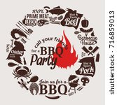 vector barbecue party... | Shutterstock .eps vector #716859013
