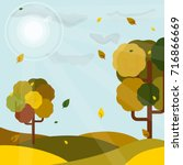 autumn forest and falling... | Shutterstock .eps vector #716866669
