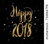 happy 2018 unique hand drawn...   Shutterstock .eps vector #716866798