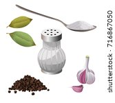 spice set  salt  sugar  pepper  ... | Shutterstock .eps vector #716867050