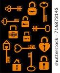 key and lock. secret. love.... | Shutterstock .eps vector #716873143
