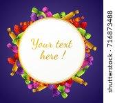 halloween round banner with... | Shutterstock .eps vector #716873488