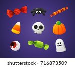 set of colorful halloween... | Shutterstock .eps vector #716873509