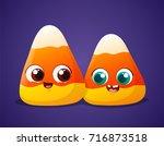 cute halloween candy corn buddy ... | Shutterstock .eps vector #716873518