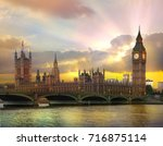 london at sunset. beautiful... | Shutterstock . vector #716875114