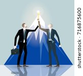 two successful businessman... | Shutterstock .eps vector #716875600