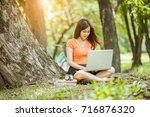 fresh and happy relaxing... | Shutterstock . vector #716876320