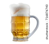 mug of frosty light beer with... | Shutterstock . vector #716876740