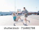 girls are having fun going on.... | Shutterstock . vector #716882788
