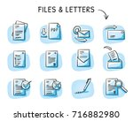 set with files and paper icons... | Shutterstock .eps vector #716882980