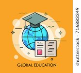 globe with graduation cap and... | Shutterstock .eps vector #716883349