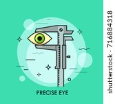 human eye measured with vernier ... | Shutterstock .eps vector #716884318
