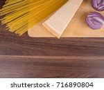 products on a wooden background.