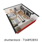 3d rendering of furnished home... | Shutterstock . vector #716892853