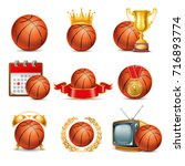 basketball ball icon set.... | Shutterstock .eps vector #716893774