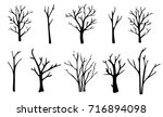 Naked trees silhouettes set. Hand drawn isolated illustrations   Shutterstock vector #716894098
