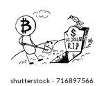 doodle style bitcoin bury the... | Shutterstock .eps vector #716897566