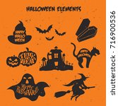 happy halloween elements trick... | Shutterstock .eps vector #716900536