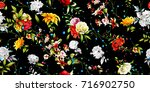 wide seamless floral background ... | Shutterstock .eps vector #716902750