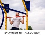 man  strong male  athlete... | Shutterstock . vector #716904004