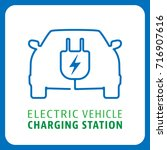 electric vehicle charging... | Shutterstock .eps vector #716907616