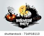 halloween pumpkins and dark... | Shutterstock .eps vector #716918113