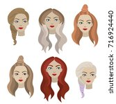 set of hairstyles | Shutterstock . vector #716924440