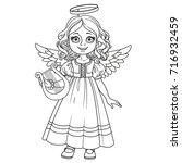 cute girl in angel costume... | Shutterstock .eps vector #716932459