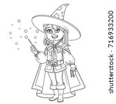 cute boy in magician costume... | Shutterstock .eps vector #716933200