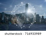 communication network with...   Shutterstock . vector #716933989
