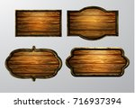 wooden signs  vector icon set | Shutterstock .eps vector #716937394