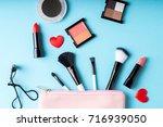 set of makeup cosmetics... | Shutterstock . vector #716939050