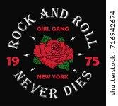 new york rock and roll girl... | Shutterstock .eps vector #716942674
