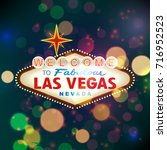 welcome to las vegas sign with... | Shutterstock . vector #716952523