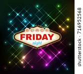 black firday retro light frame... | Shutterstock . vector #716952568