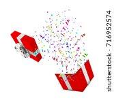 open xmas boxwith confetti on... | Shutterstock . vector #716952574