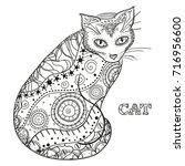 cat. design zentangle. hand... | Shutterstock . vector #716956600