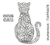 cat. design zentangle. hand... | Shutterstock . vector #716956678